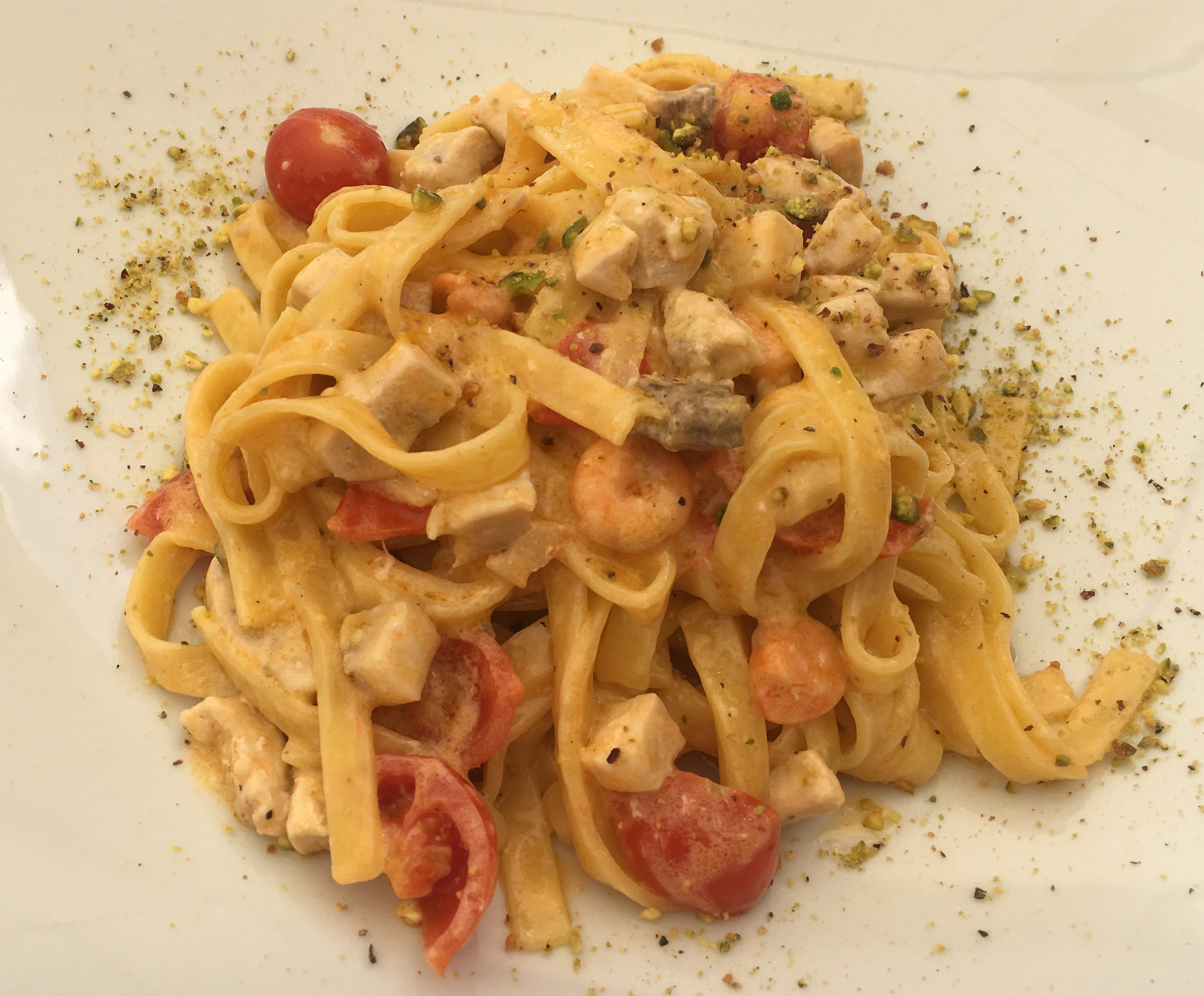 Seafood pasta for mains